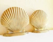 Vintage Brass Seashell Shell Bookends Book Holder Pair Matching