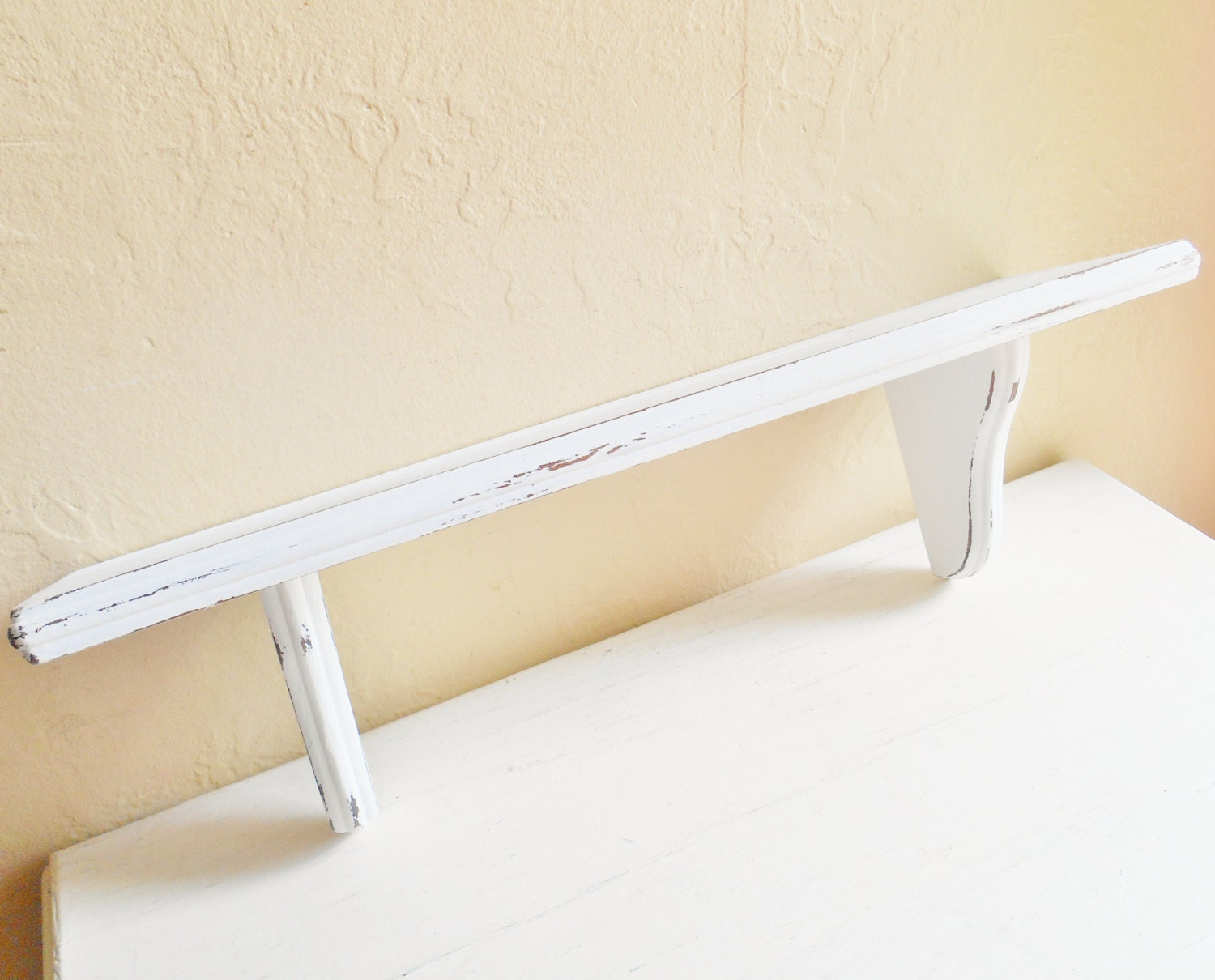 shabby chic distressed white wood wall shelf ready by
