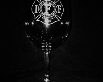 International Association of Firefighters 13 Ounce Wine Glass