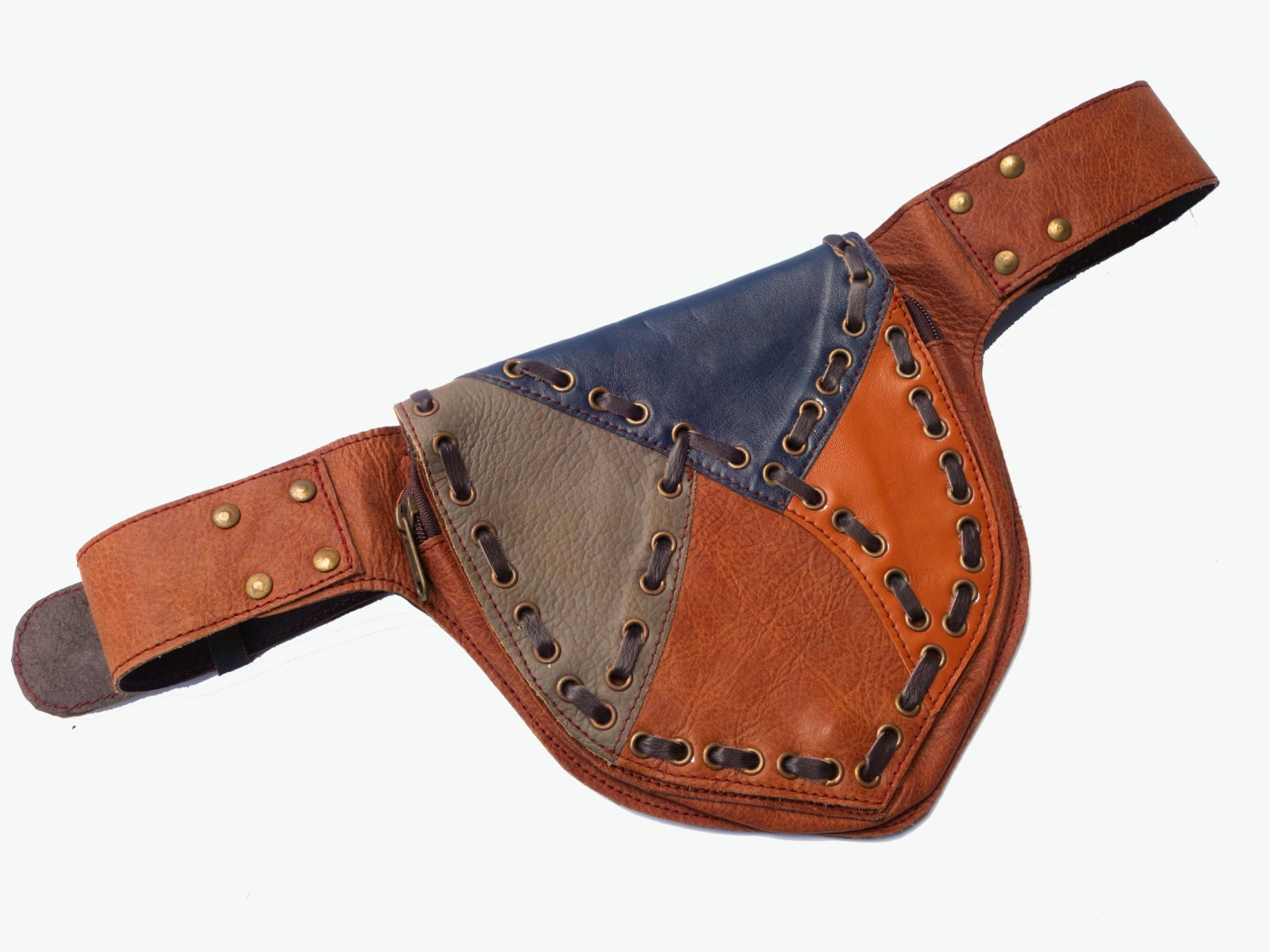 leather festival belt brown and black patchwork by