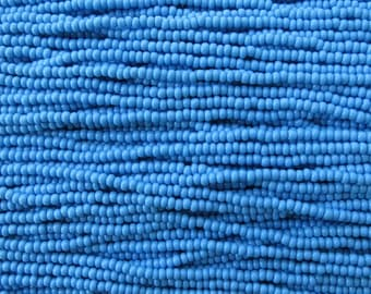 8/0 Opaque Dark Blue Turquoise Czech Glass Seed Bead Strand (CW86)