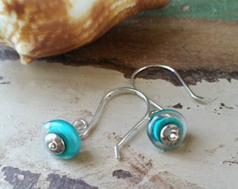 Teal Glass And Sterling Silver Earrings 094e