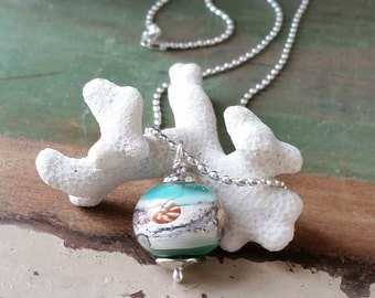 Sterling Silver and Turquiose Beach Glass, Sand Infused Pendant / Necklace 119n