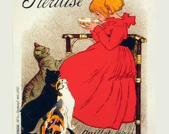 "French Advertisement Poster ""Lait pur Sterilise""  -  Art Noveau Giclee Print - Cat Lover Print - Kitchen Wall Decor - Vintage Cat Poster"