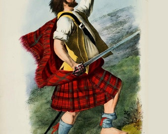 Clan MacDuff - Scottish Highlander ~ Traditional Tartan and Arms ~ ca 1845 Giclee print
