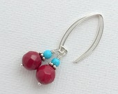 Red Coral Earrings. Sterling Silver and Genuine Coral