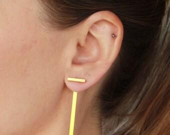 Gold Ear Jackets Single Or Pair, gift, 24K Gold Plated Geometric T Sterling Silver Bar Earrings, Front Back Earrings, Gold Summer Earrings