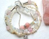Lokahi Multistrand Gemstone Bracelet - Pink Jade, Opal, Rose Quartz, Silver - Handmade OOAK - Free US Shipping, Wedding, Healing Gemstone