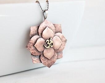 Lotus Mandala Copper Om Bold Pendant, Boho Jewelry, Inspirational jewelry, Statement necklace, Handmade by Hapa Girls, OOAK