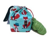 Sock Knitting Project Bag Hexipuff Small Crochet WIP Bag - Stay Foxy
