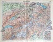 1958 Vintage Map of Switzerland - Large Map of Switzerland