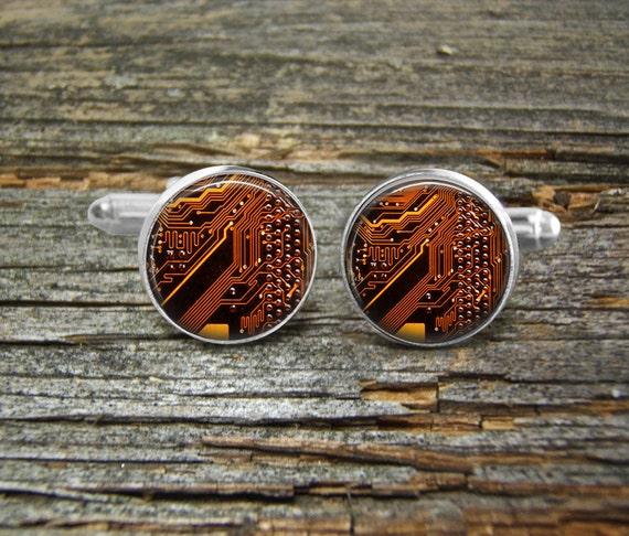 Circuit Board Computer Brown Gold Copper Tie Clipsilvergift Boxusa