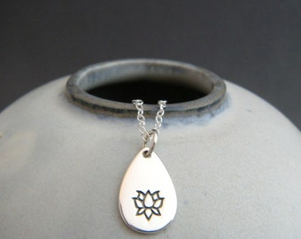 silver lotus teardrop necklace. tiny sterling silver zen yoga yogi jewelry small simple lotus flower charm delicate pendant everyday jewelry
