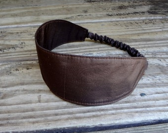 Wide Fabric Headband with elastic: Dark Brown Silk