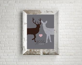 Wedding Gift, Yes Deer, Romantic Deer Doe Print, Antlers Couples Wedding Gift,  Memories, Anniversary Present, Personalized Wedding Gift