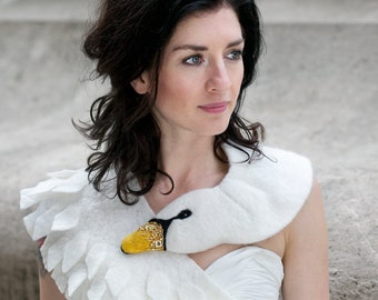 Jewelled Swan - felted wool animal scarf, stole / shrug / bridal - gold
