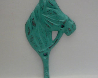 Horse Head Cast Iron Hook Shabby Chic Turquoise Wall Hook Home Decoration