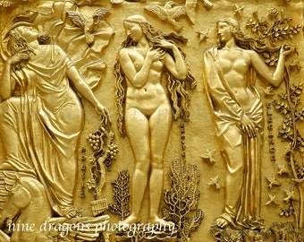 Golden Goddess Art, New York City Photography, Female Nude Spa Art, Boudoir Art, NYC Art, Boho Wall Decor, Gold Bathroom Art, 3 Women Muses