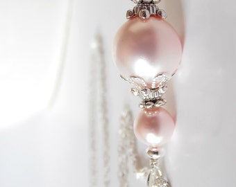 Pink Pearl Bridesmaid Jewelry, Beaded Pearl Pendant Necklace on Silver Chain, 16 or 18 Inches, Light Pink Wedding Sets, Bridesmaid Gift