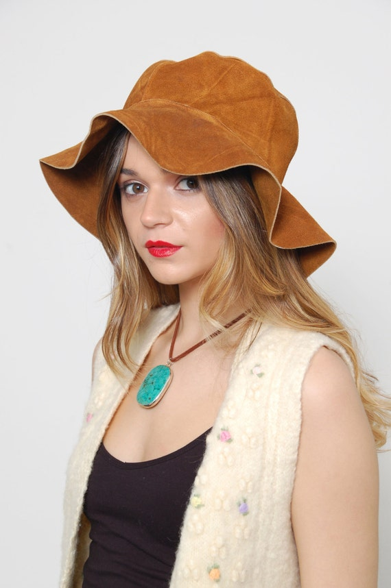 Suede Leather Floppy Pioneer Hat 46