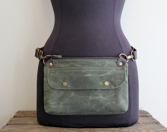 Hip Pouch Fanny Pack Olive Green Waxed Canvas