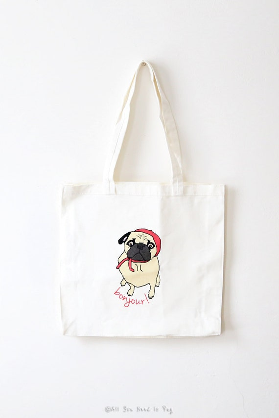 SALE - Parisian Pug Tote Bag - Romantic French Book Bag - Book Tote - Grocery Tote - Gift for Her - Gift for Dog Lovers  - Pug Christmas