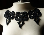 3 Celtic Knot Lace Appliques in Black for Jewelry Supply, Garments, Costume Design BLA 104