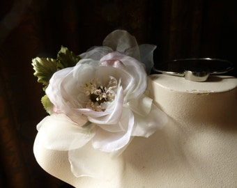 Ivory & Pink Silk Velvet and Organdy Millinery Rose for Bridal, Hats, Corsages MF101- 4873