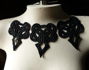3 BLack Celtic Knot Lace Appliques for Lyrical Dance, Garments, Costume Design BLA 104