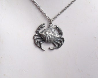 Vintage Pewter Crab Necklace Zodiac Cancer Necklace