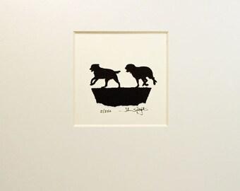 Running Labrador Dogs Hand Cut Papercut