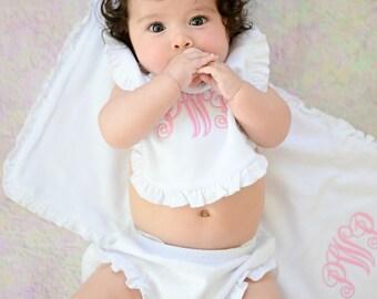 4 pc Girls Monogrammed Baby Gift Set, Ruffle Diaper Cover, Bib & Burp Cloth, Double Ruffle Ribbon Headband, Newborn Gift, Shower Gift, LDM