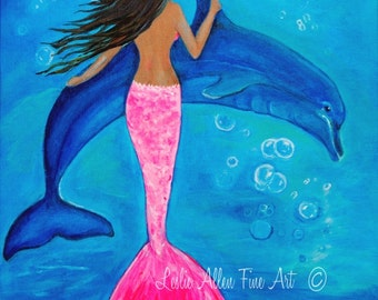 "Mermaid Art Print Mermaid Art Dolphin Art Print Mermaid Wall Decor Mermaid Theme  Mermaid Decor ""Bubbly Fun""  Leslie Allen Fine Art Mermaid"