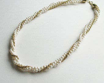 3 Strand Gold Pearl Twisted Vintage Necklace