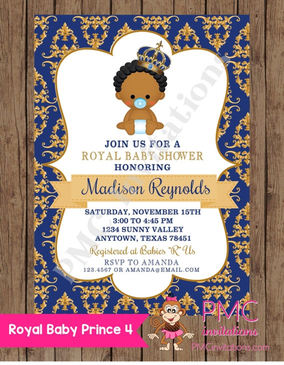 Custom Printed African American Royal Prince Baby Shower Invitations