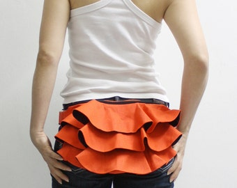 Ruffled Waist Pouch in Orange, Fanny Pack, Travel Pouch, Hip Bag, Zipper Pouch, Bridesmaid Gift, Gift Ideas  for Women - RWP -  SALE 20% OFF