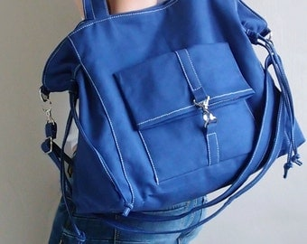 Shoulder Bag, Tote Bag, Laptop bag, Diapers bag, School bag, Canvas Bag, Travel Bag, Gift Ideas for Women - EZ in Royal Blue -  SALE 30% OFF