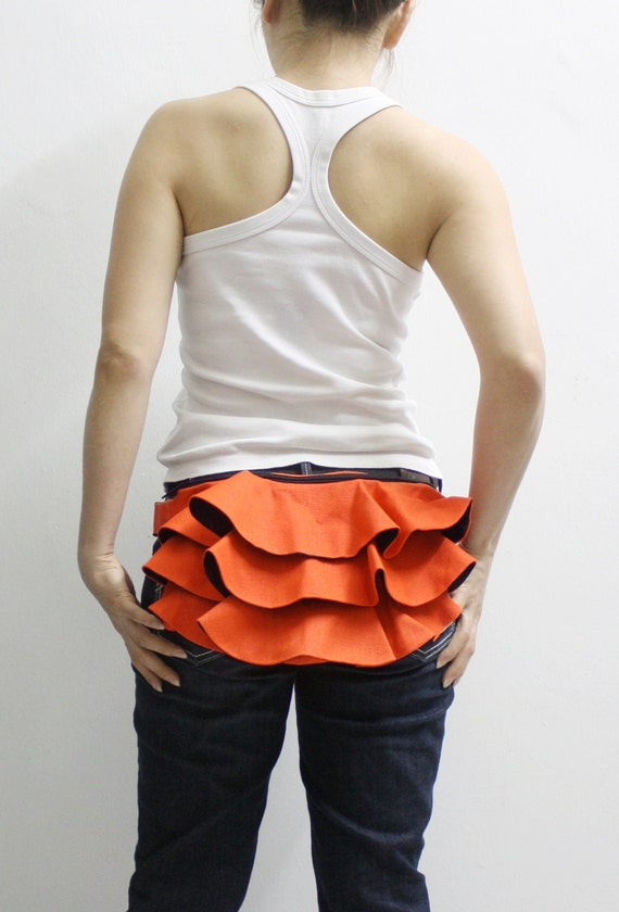 Ruffled Waist Pouch in Orange, Fanny Pack, Travel Pouch, Hip Bag, Zipper Pouch, Bridesmaid Gift, Gift Ideas  for Women - RWP -  SALE 30% OFF