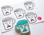 mr coffee cup rubber stamp. father cup hand carved stamp. cafe barista stamp. kitchen stamp. father's day boy's gift wrapping. scrapbooking