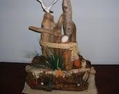 Coastal Decor Seagull and Driftwood Handmade Seashore Sculpture
