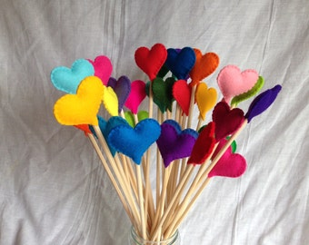 Heart Decoration Set - Wool Felt - Felt Hearts - Party / Table Decorations - Hearts on Sticks