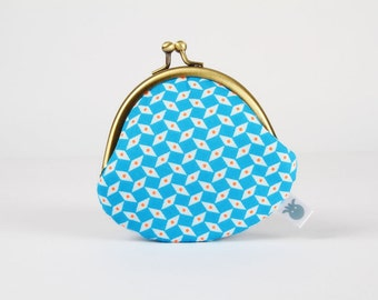 Metal frame coin purse - Pepin bleu - Mummy rounded purse / Petit Pan French fabric / geometric / neon orange blue / tiny dots / modern boho