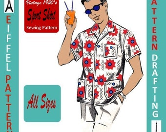 1950s-Men's Snazzy Sport Shirt-Wing Collar-Patch Pockets-PATTERN Drafting Design-All Sizes-Pdf- Bonus FREE 1957 Sewing EBook