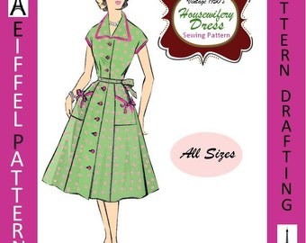 1950s-HOUSEWIFERY DRESS-Wing Collar-Flared Skirt-Patch Pockets-Contrast Trim-Pattern Drafting Design-All Sizes-Pdf- FREE -1957 Sewing EBook