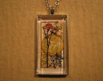Carnation Pendant, Clematis Pendant, Floral Pendant, Etudes de Fleurs, French Pendant, Rectangle Pendant, Glass Pendant