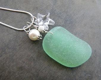 Beach Sea Glass Necklace Starfish Sea Foam Beach Jewelry Seaglass Sterling
