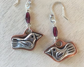 Handmade Copprclay and sterling silver Milagro bird earrings