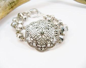 Silver Cuff Bracelet, Double Strand, Silver Jewelry, Crystal Bracelet, Women's Jewelry