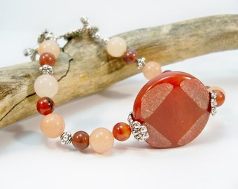 Gemstone Single Strand Bracelet, Blood Red Bracelet, Orange Bracelet, Women's Bracelet, Gifts for Her