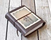 Brown Leather Journal with Tall Ship Photo - Grand Marais Schooner